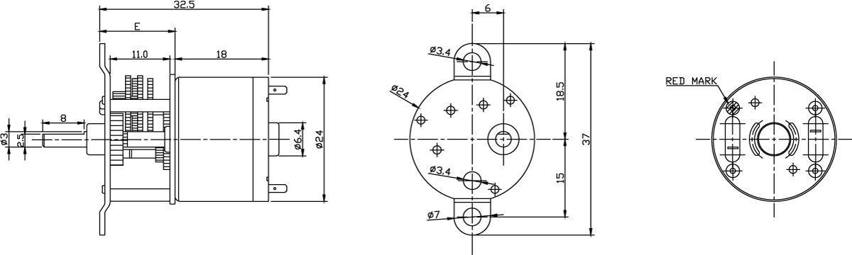 HDG24 Series 330T (Motor+Reducer) dimensions