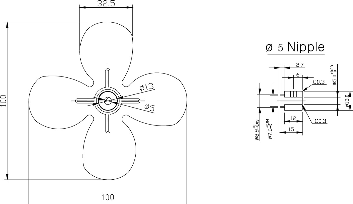Aluminum Fan Series 100mm dimensions
