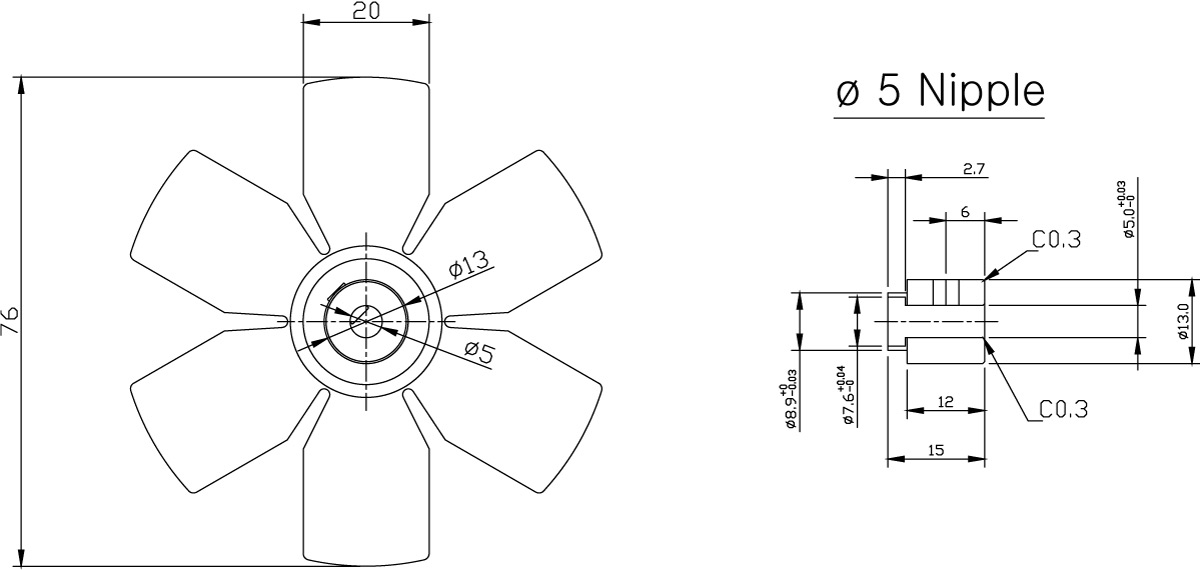 Aluminum Fan Series 76mm dimensions